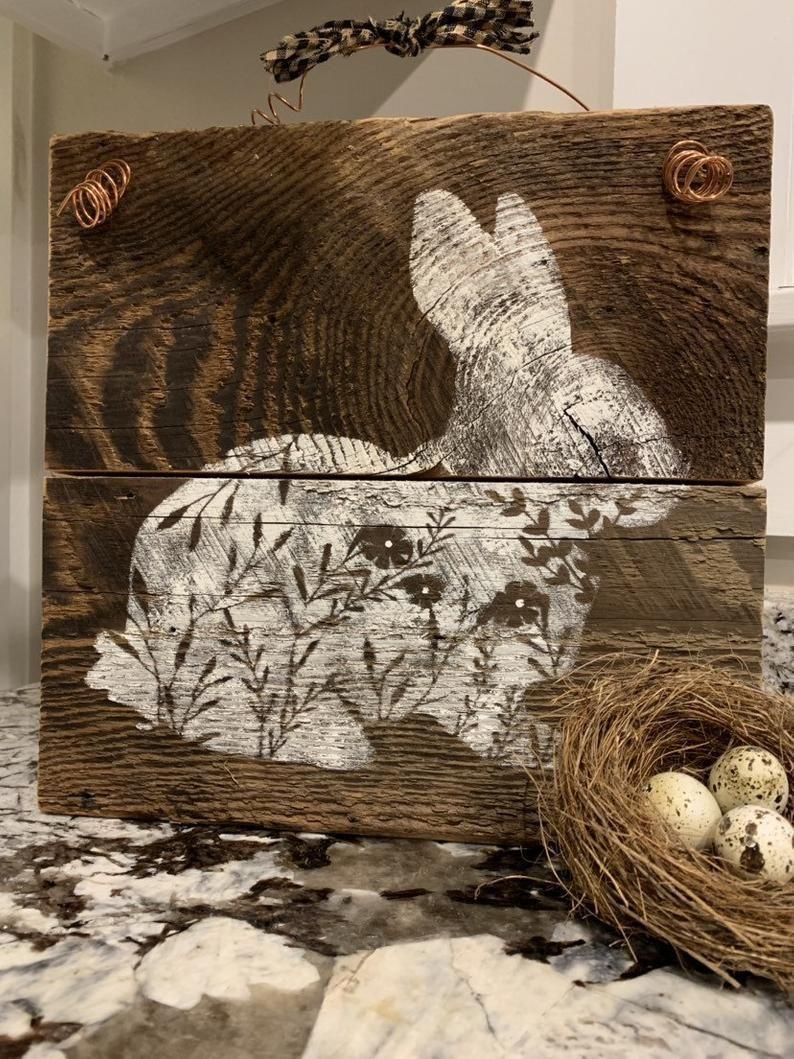 Rustic Barnwood Bunny Spring Sign | Etsy