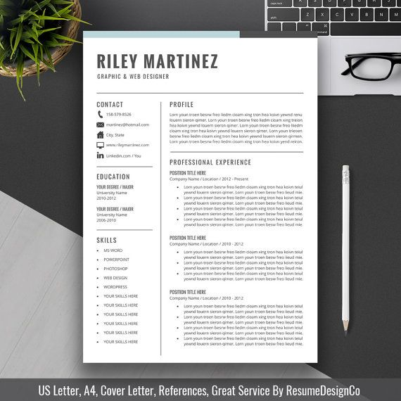 Professional Resume Template US Letter A4 CV By