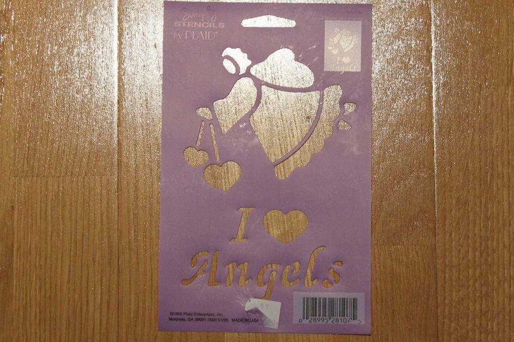 Plaid Simply Stencils I Love Angels 28107   eBay