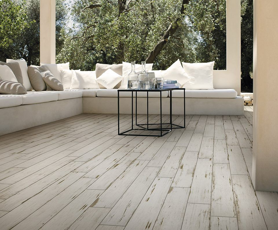 Saime ceramiche painted white grip 15x90 indoor for Indoor outdoor wood flooring
