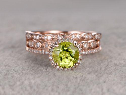 7mm Round Peridot Wedding Set Diamond Bridal Ring 14k Rose Gold Marquise Eternity Band Peridot Engagement Rings Bridal Rings Buy Wedding Rings