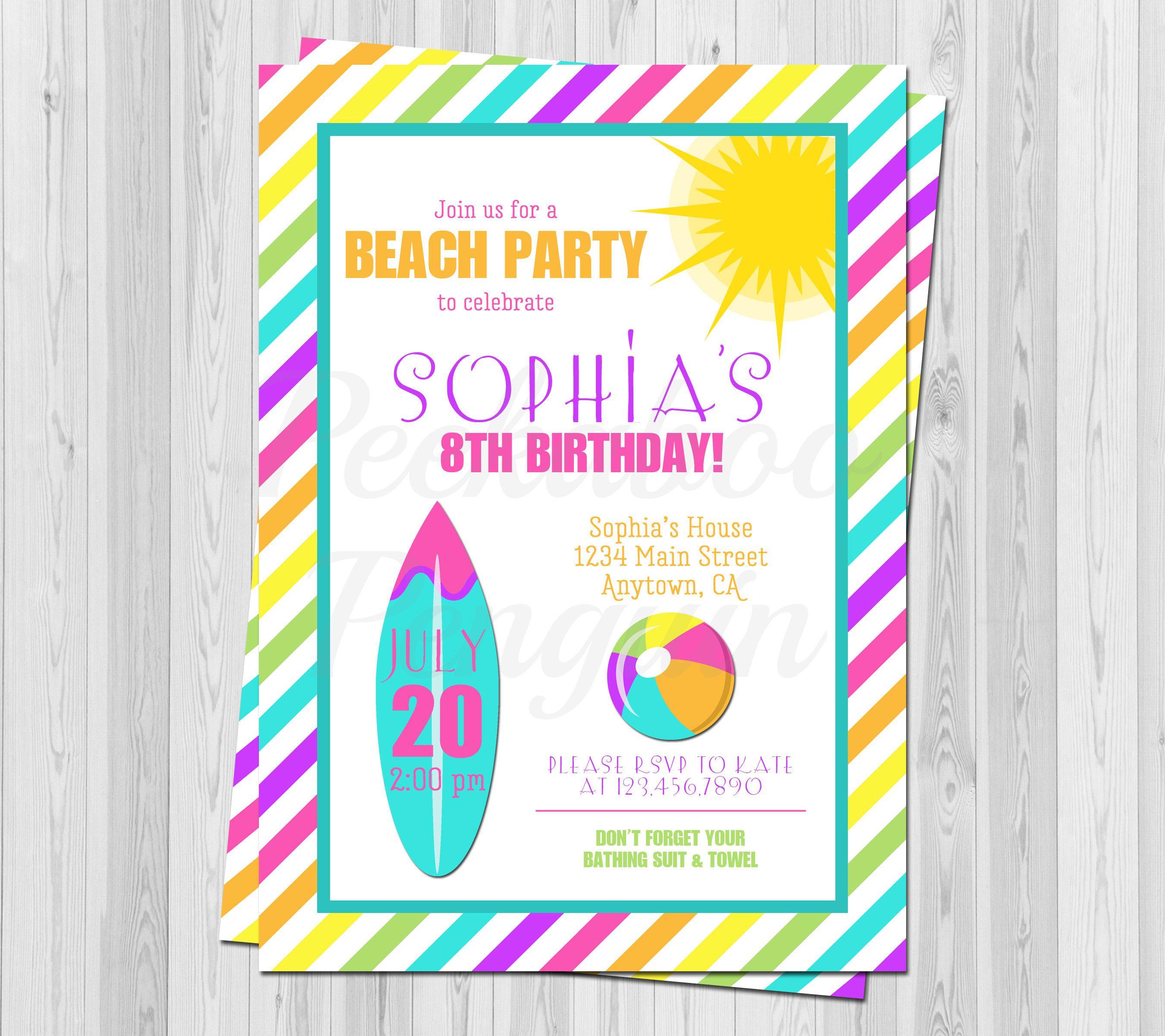 Beach Birthday Invitation, Kids Birthday Invite, Girls Surfing ...