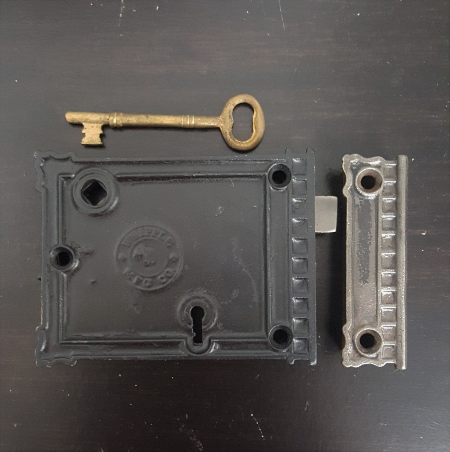"old security lock 2 1//8"" Slide Latch barrel bolt vintage cellar window door"