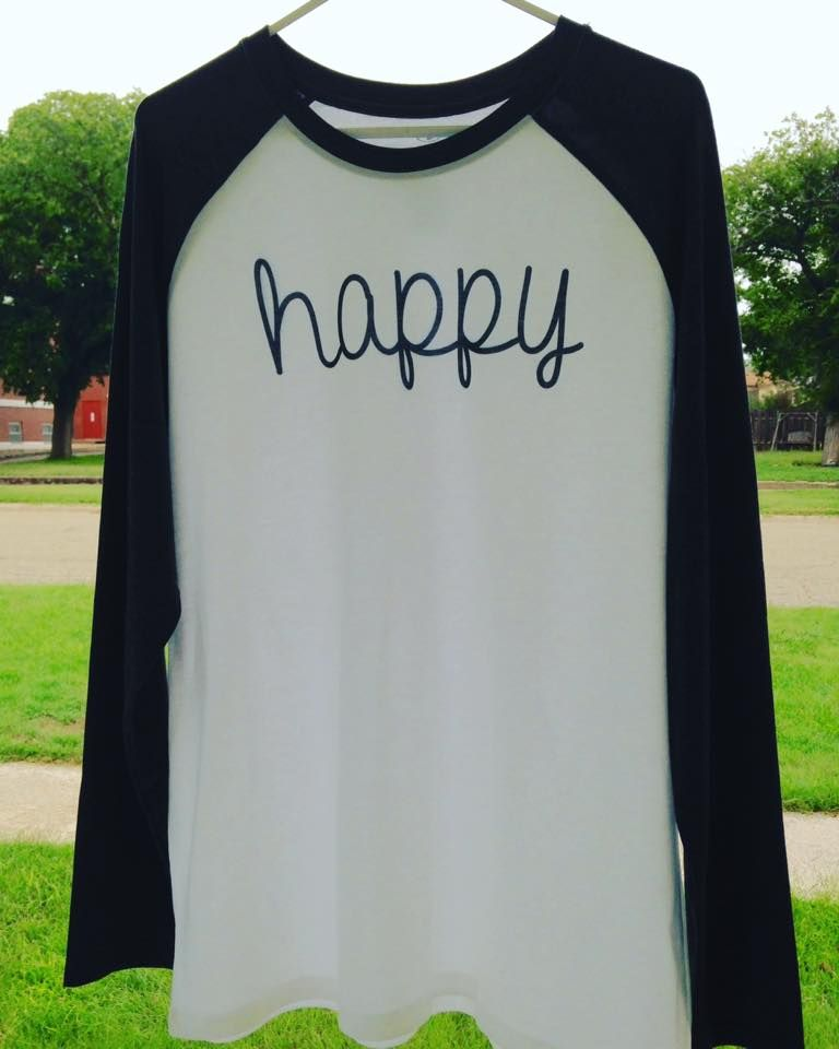 Show Your Happy!   These unisex raglan 3/4 sleeve tees are THE BEST! Super-soft…