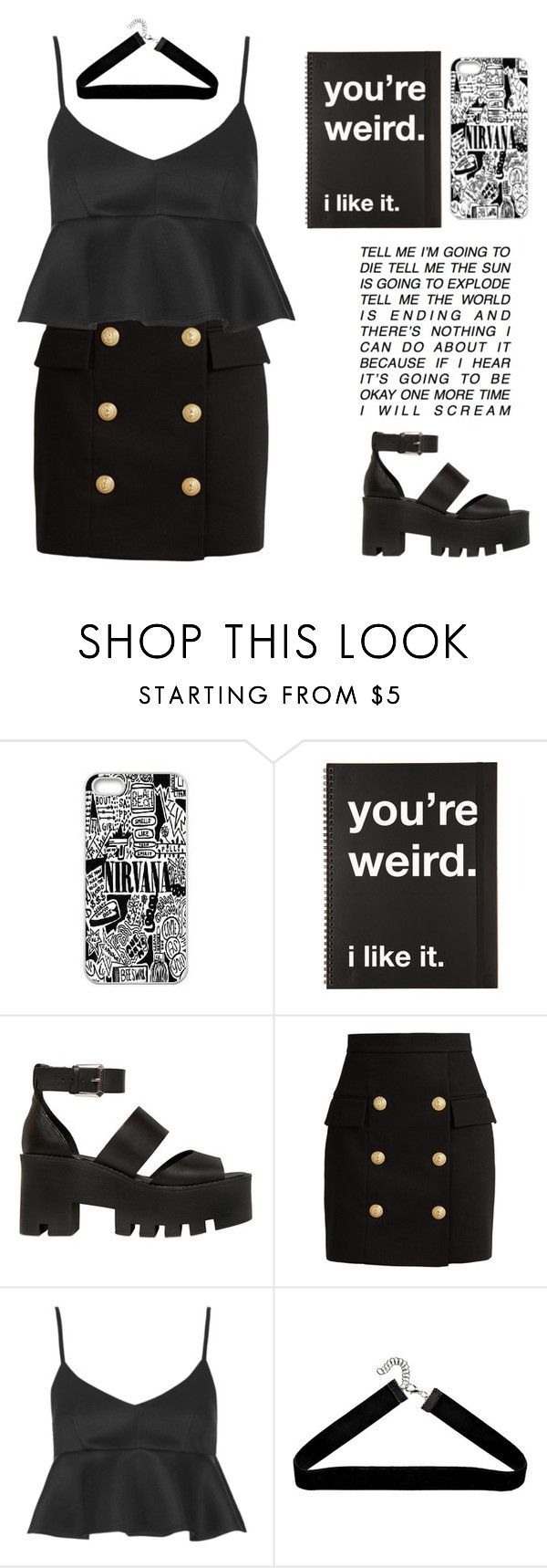 """Make it up"" by gb041112 ❤ liked on Polyvore featuring Windsor Smith, Balmain, Topshop and Boohoo"