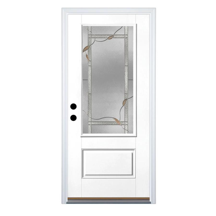 Therma Tru Benchmark Doors Ashleigh 36 In X 80 In 3 4 Lite Decorative Glass Right Hand Inswing Ready To Paint Fiberglass Prehung Entry Door With Insulating Core Entry Doors Glass Decor Fiberglass Entry Doors