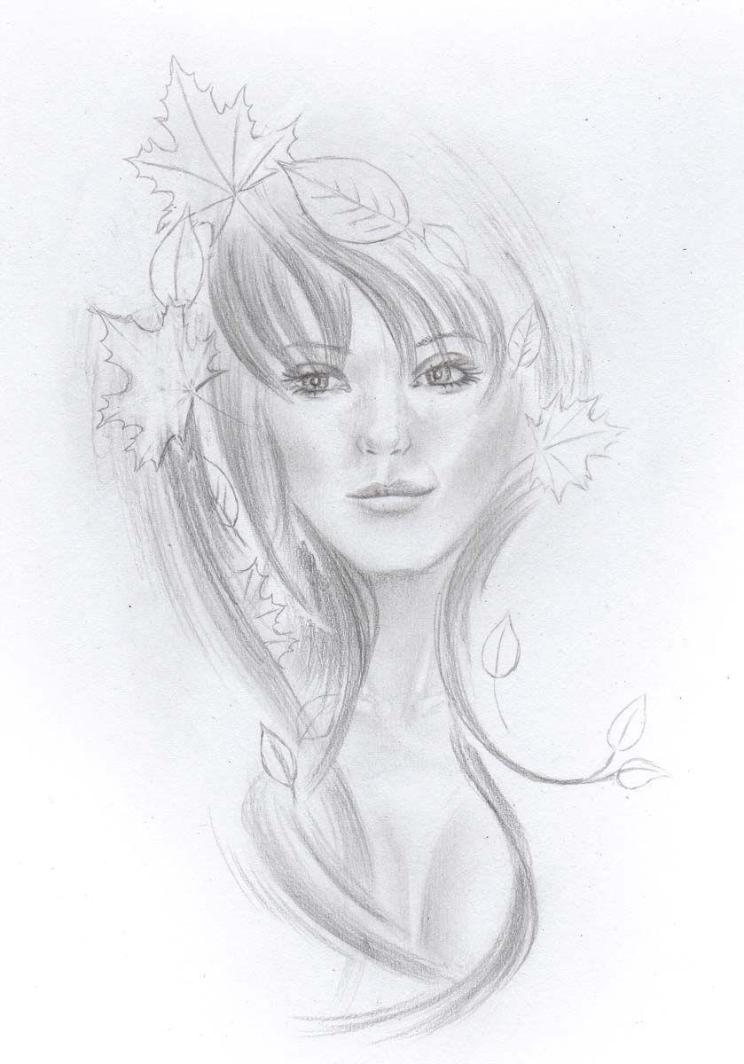 Mädchen mit Laub im Haar, Herbst, Ahorn zeichnen | Portraits ...