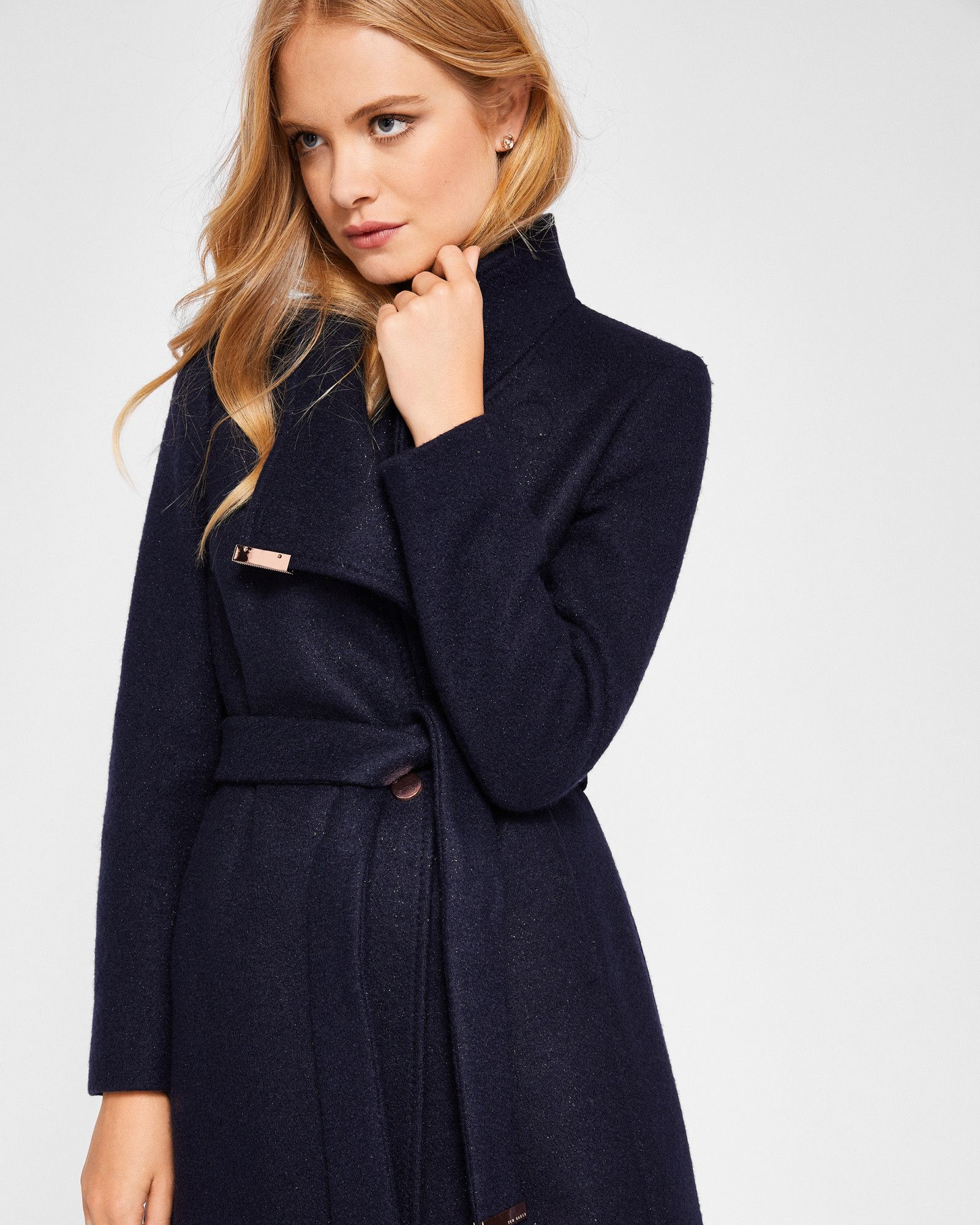 ad0564115 Ted Baker Boiled wool sparkle wrap coat Navy