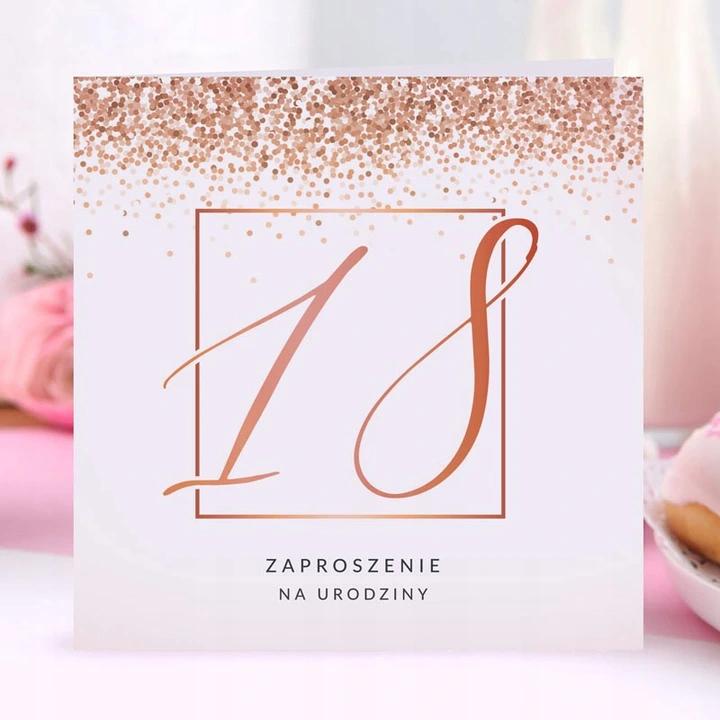 Zaproszenia Na 18 Rosegold Confetti 10szt Koperty Place Card Holders Birthday Party Cards