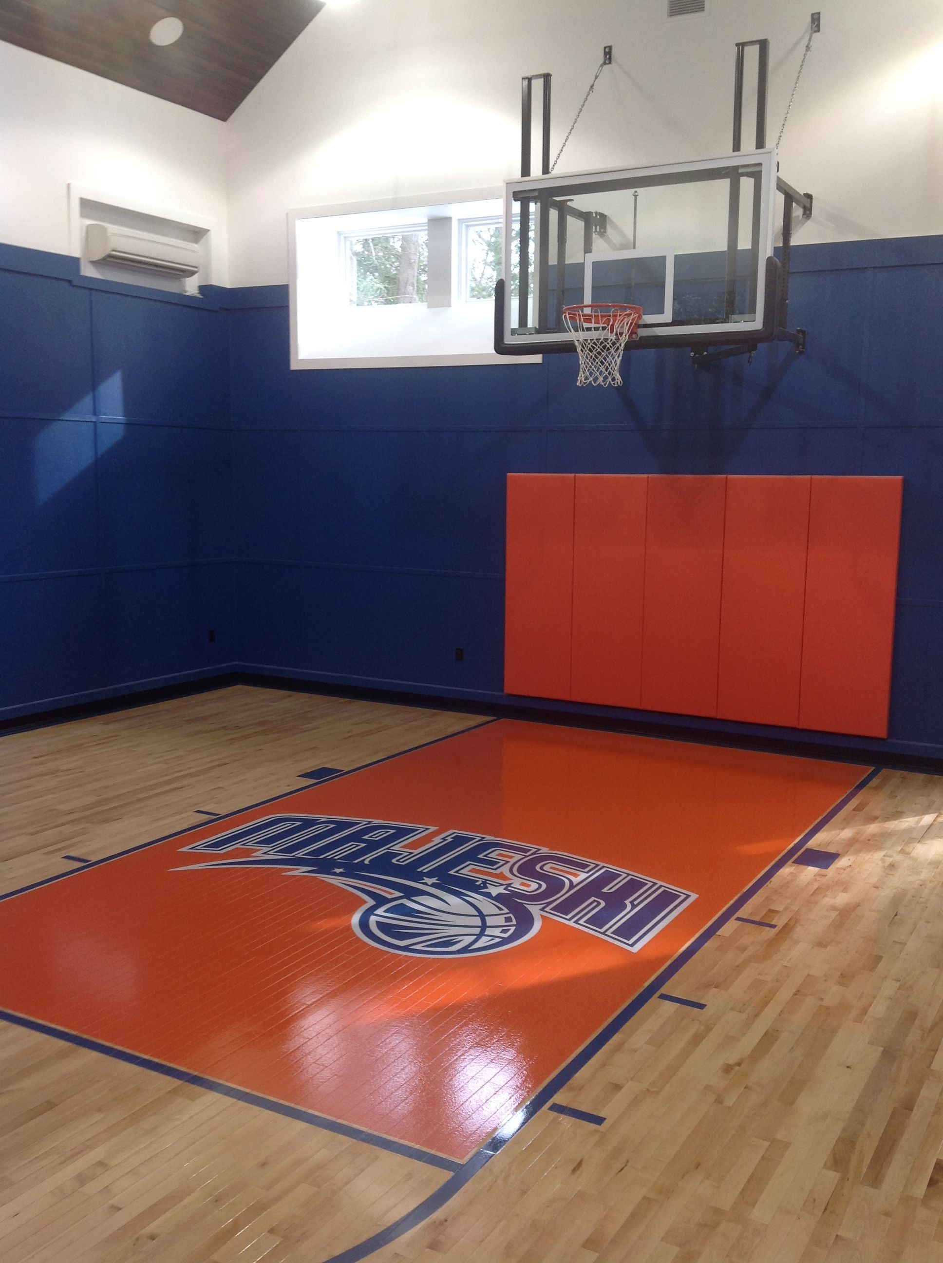 Indoor basketball court at a residence in princeton nj for Indoor basketball court installation