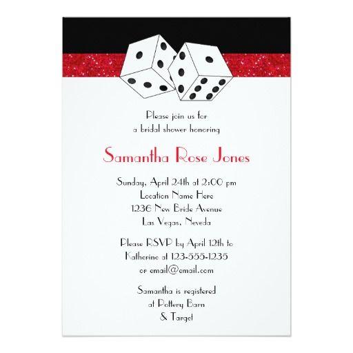 "Las Vegas Wedding Bridal Shower Red Dice Theme 5"" X 7"" Invitation Card"