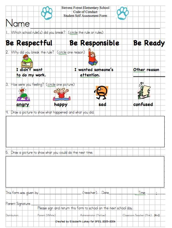 School Self Evaluation Form Lower Elementary Think Form Behavior