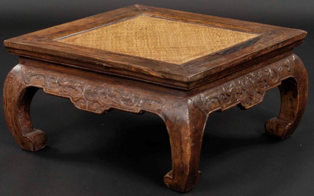 Chinese square carved kang table antique chinese