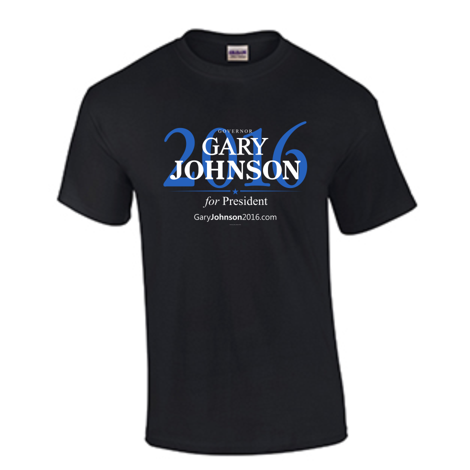 $25 black tee- Gary Johnson 2016 Official campaign store- Purchases directly benefit the campaign.