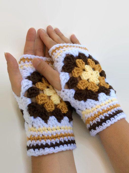5e23833113728 Yellow Granny Square Driving Gloves   Fingerless Mittens   Crochet ...