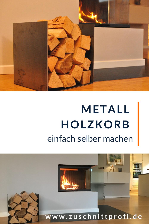 Design Feuerholz-Korb aus Rohstahl selbst gemacht in 18