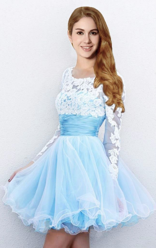 2017 Hot Sale Short Mini Light Blue Prom Dresses with Long Sleeves ...