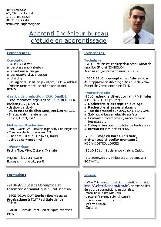 cv exemple ingenieur