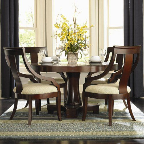3F7101181PG   Violante Round Pedestal Dining Table + 4 Chairs   Furniture2Go