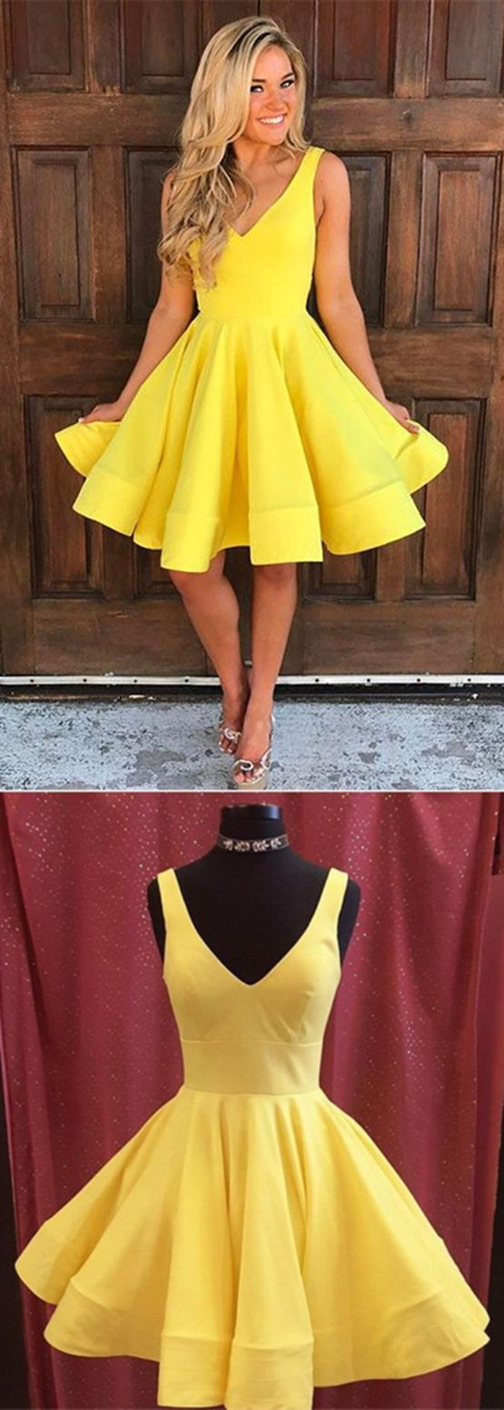 Simple yellow homecoming dressesshort prom party dress with pocket