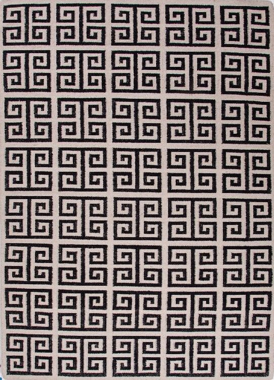 Greek Key Flat Wool Rug Black White Urban Bungalow Melina