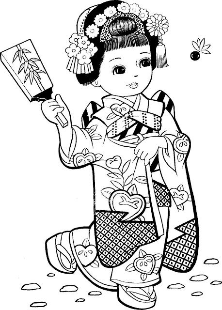 cute colouring in Kokeshi dolls art etc Coloring