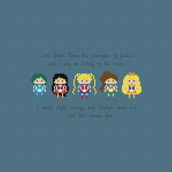 Sailor Moon Cross Stitch Pattern PDF Instant by pixelsinstitches