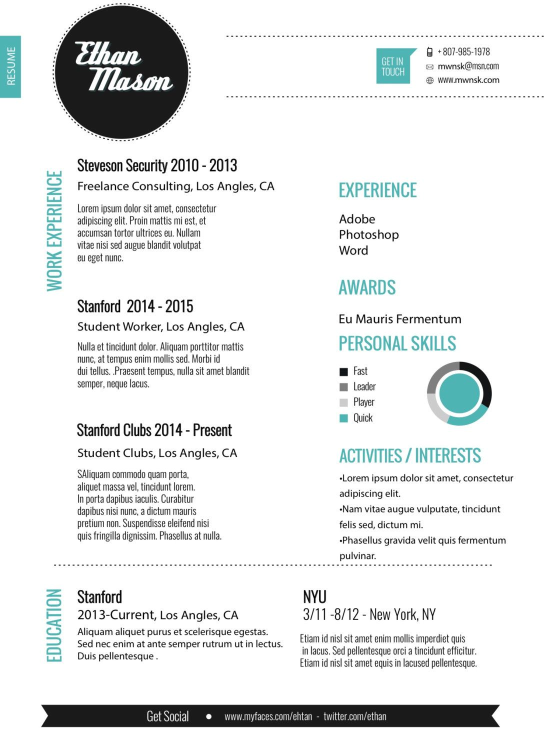 Resume Template  Creative Resume Design Cover Letter For Word And