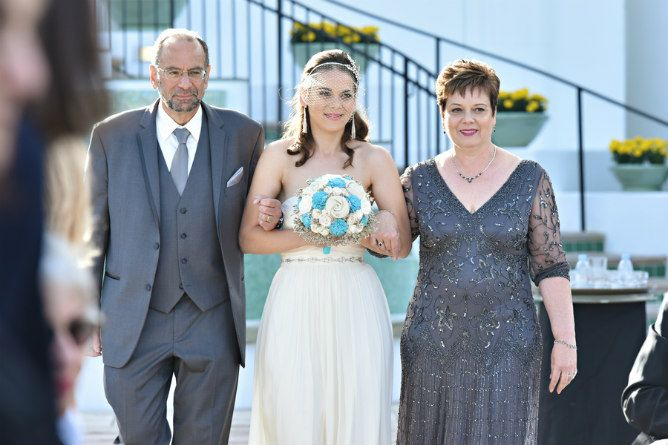 Mother Of The Bride Blue Dress Walking Daughter Down Aisle Found On Modern Jewish Wedding