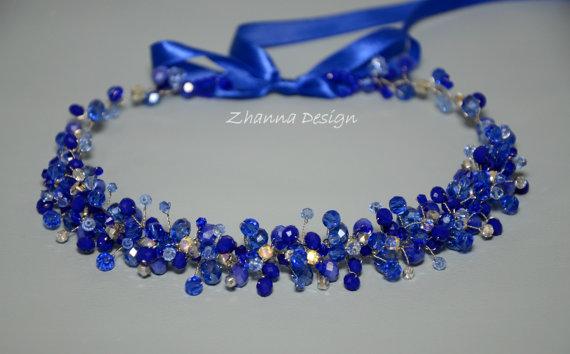 bridal royal blue crown bridal headpiece blue crystal tiara hair accessories wedding headband blue crystals wreath by zhannadesign