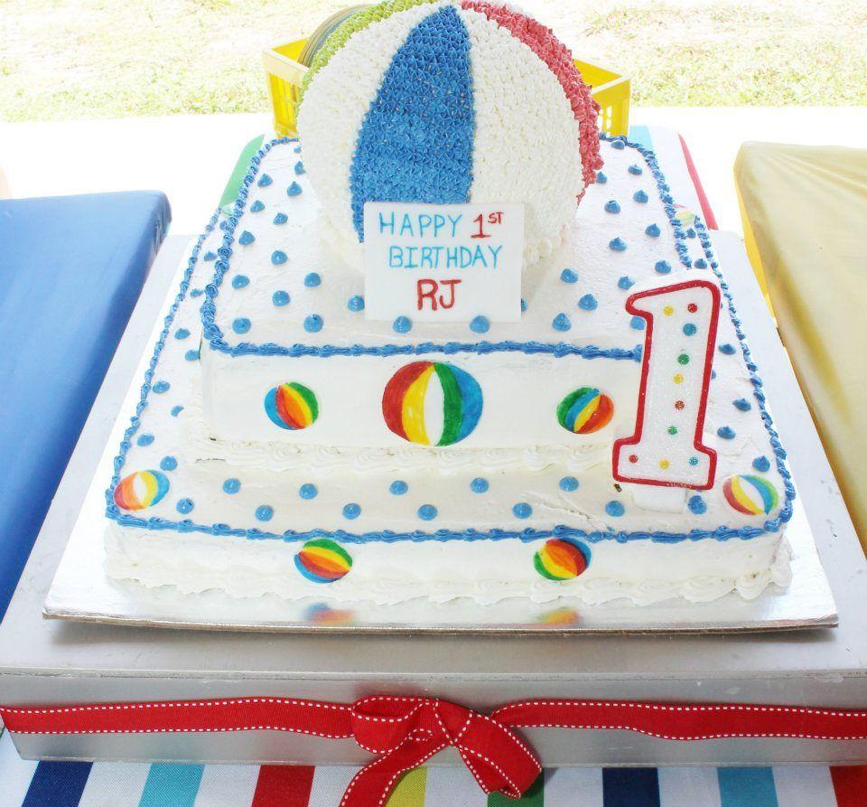 Beach Ball Cake Decorations 1St Birthday Beach Bash For Baby Rj  Beach Ball Birthday Ball