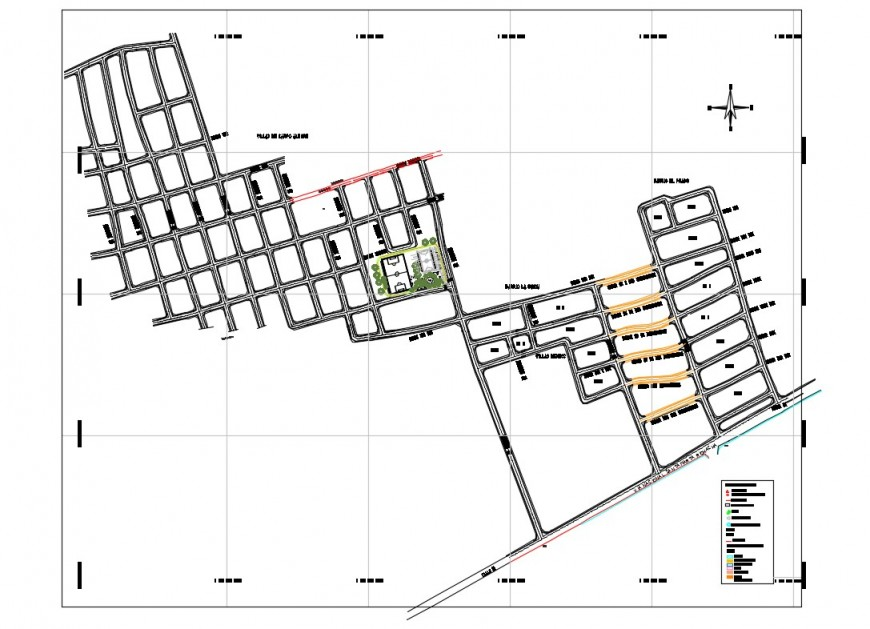Detail zonal map of urban area 2d view layout file in dwg
