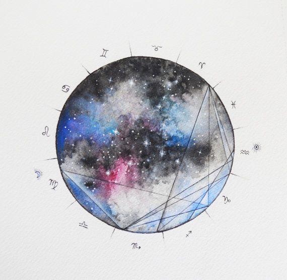 Galaxy Birth Chart Custom Handpainted Watercolor Willow Heath