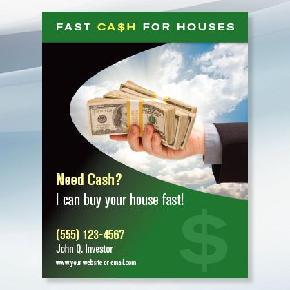 Cash For Houses New Investor Graphics Cash From Home Real Estate Flyers Real Estate Marketing