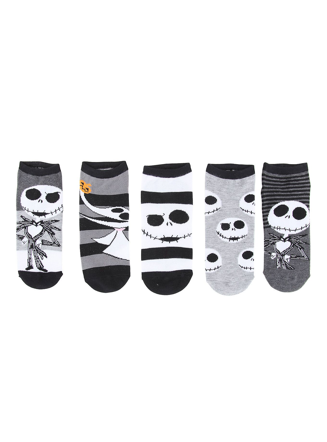 The Nightmare Before Christmas Jack Skellington No-Show Socks 5 Pair ...