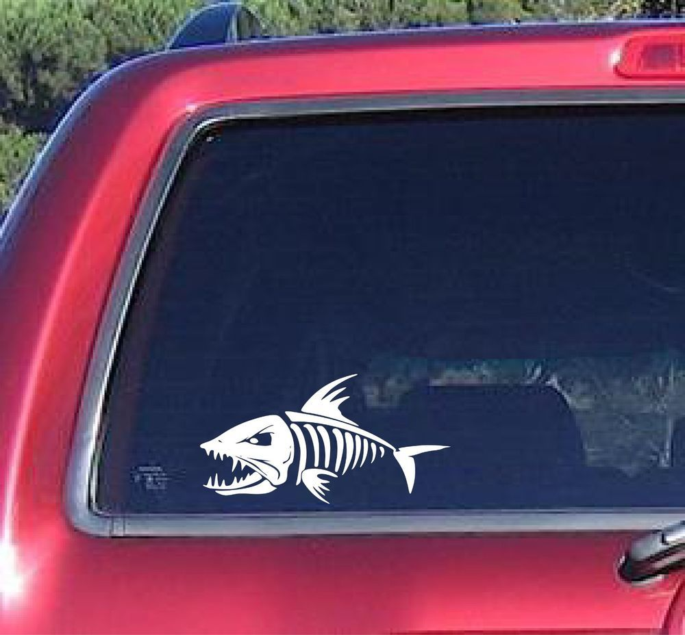 Skeloton Skeleton Fish Decal Sticker Fishing Man Boat Car Truck Outdoors 6 Year Fishing Decals Funny Bumper Stickers Fish Bumper Sticker [ 928 x 1000 Pixel ]