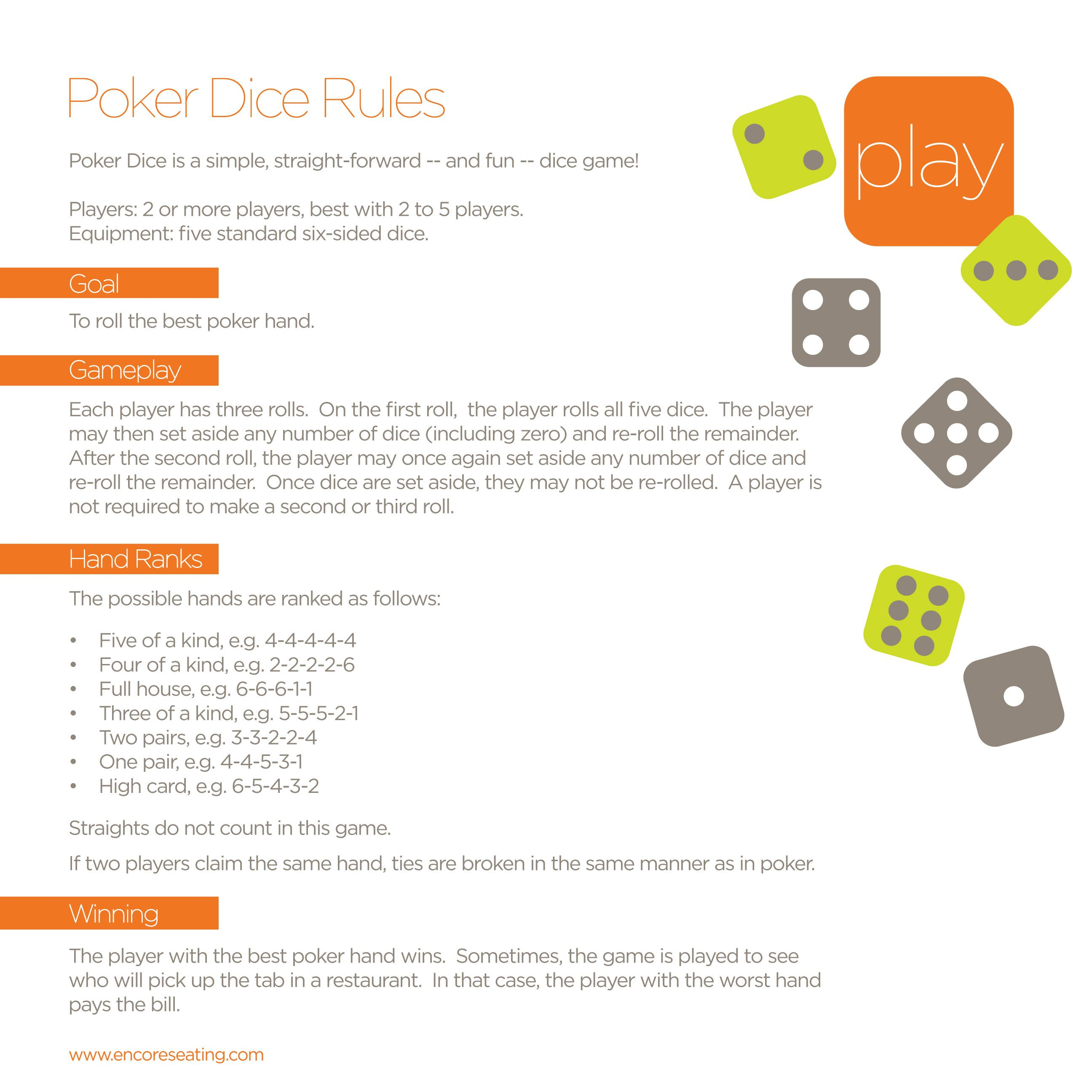 How To Play Poker Dice Dice Games Diy Games Poker Hands