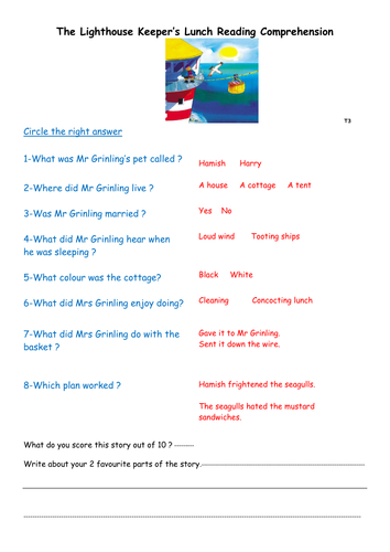 The Lighthouse Keeper S Lunch Comprehension Lighthouse