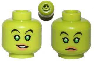 Flesh Minifig LEGO Head Female Dark Pink Lips Eyebrow Raised // Scared
