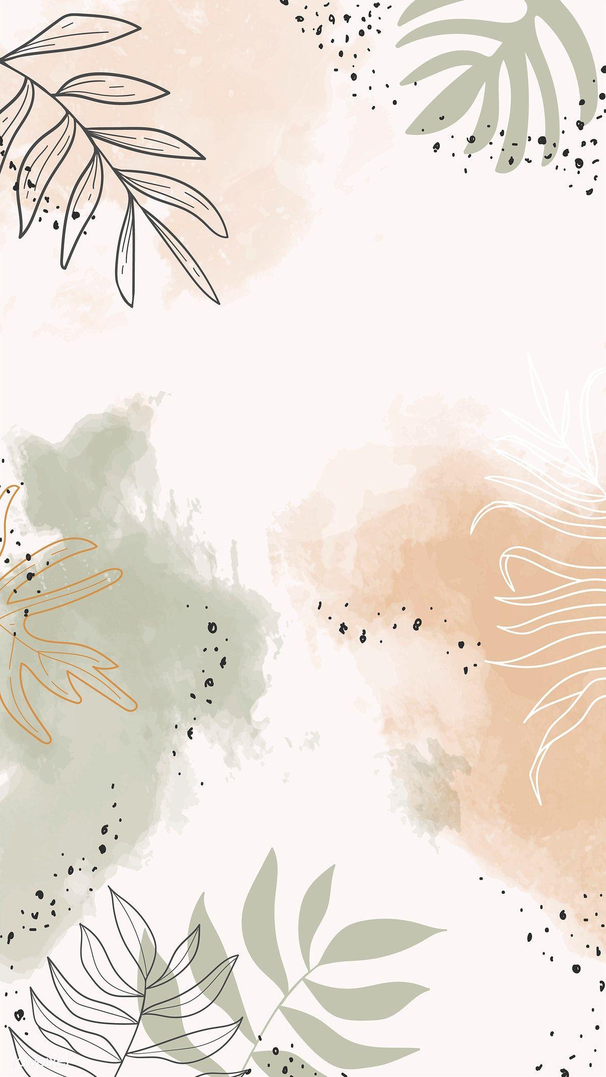 phone wall paper watercolor #phonewallpaper Beige leafy watercolor mobile phone wallpaper vector | premium image by rawpixel.com / Aum
