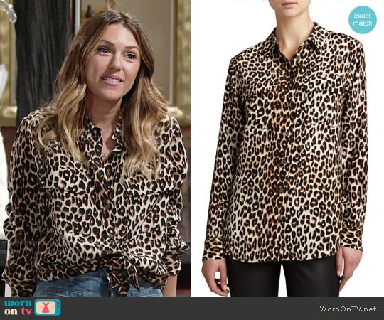 765a193d95ca Equipment Signature Leopard-Print Slim Blouse worn by Elizabeth Hendrickson  on The Young   the