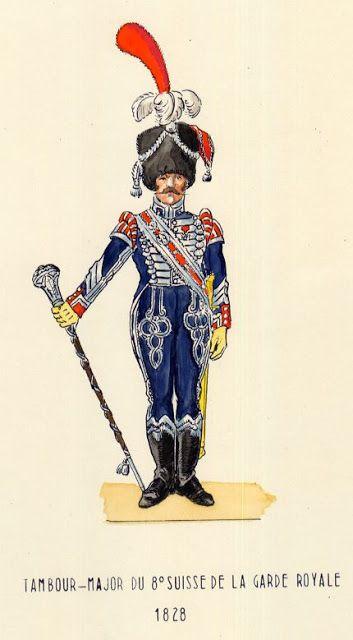 French Garde Royale, 8th Swiss Infantry Regiment, Drum major, 1828 by H Boisselier Uniforms
