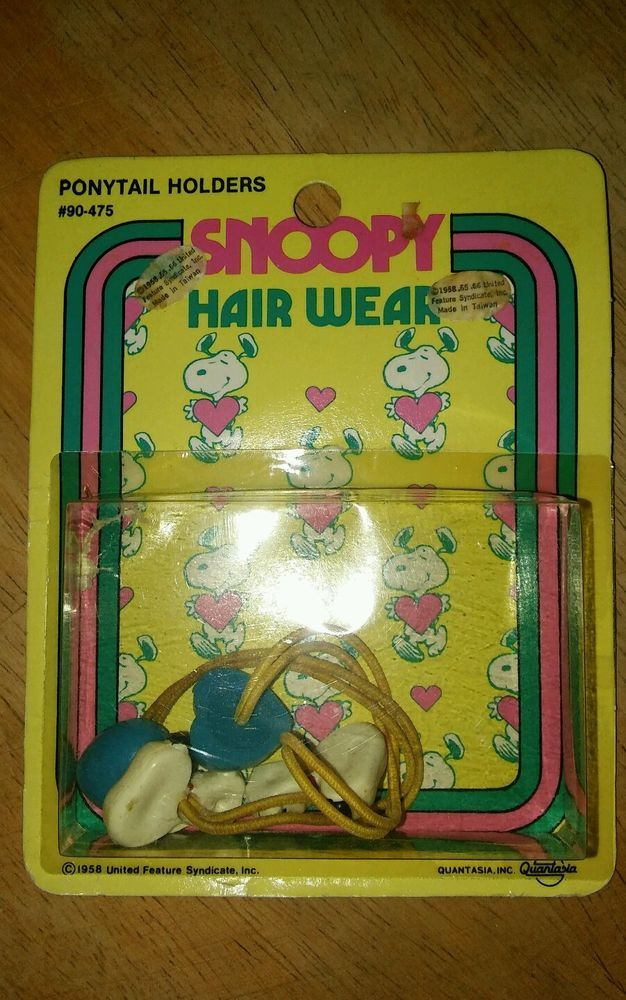 Vintage Snoopy Hair Wear Pony Tail Holders 1958 UFS, Inc. Quantasia