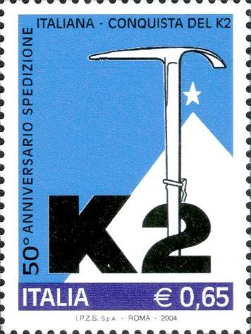 2004 - 50º anniversario della conquista del K2 da parte della spedizione italiana il 31 luglio 1954 - la vetta fu raggiunta da Achille Compagnoni e Lino Lacedelli, con il contributo fondamentale di Walter Bonatti e Amir Mahdi