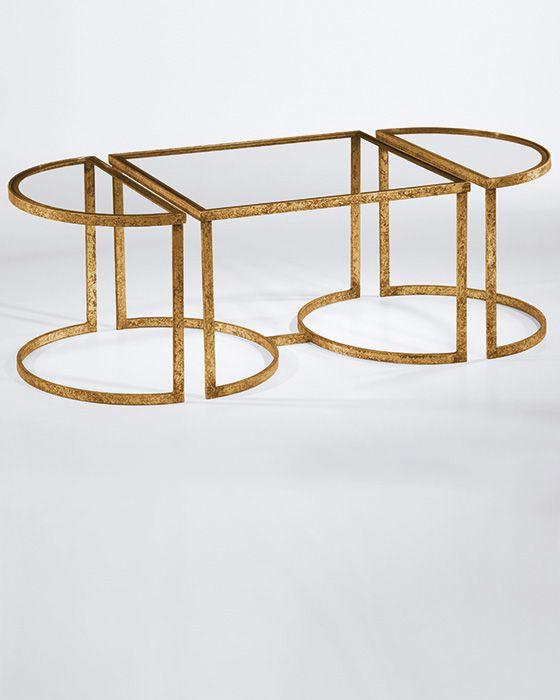Rectangular Glass Coffee Table: Gold Trim Glass Top Coffee Table