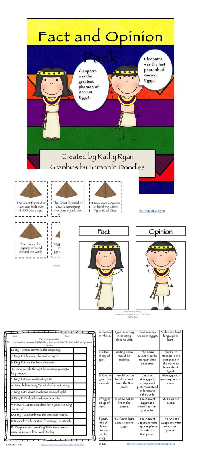 Fact And Opinion Pack Ancient Egypt Edition Fact And Opinion Teaching Reading Teaching
