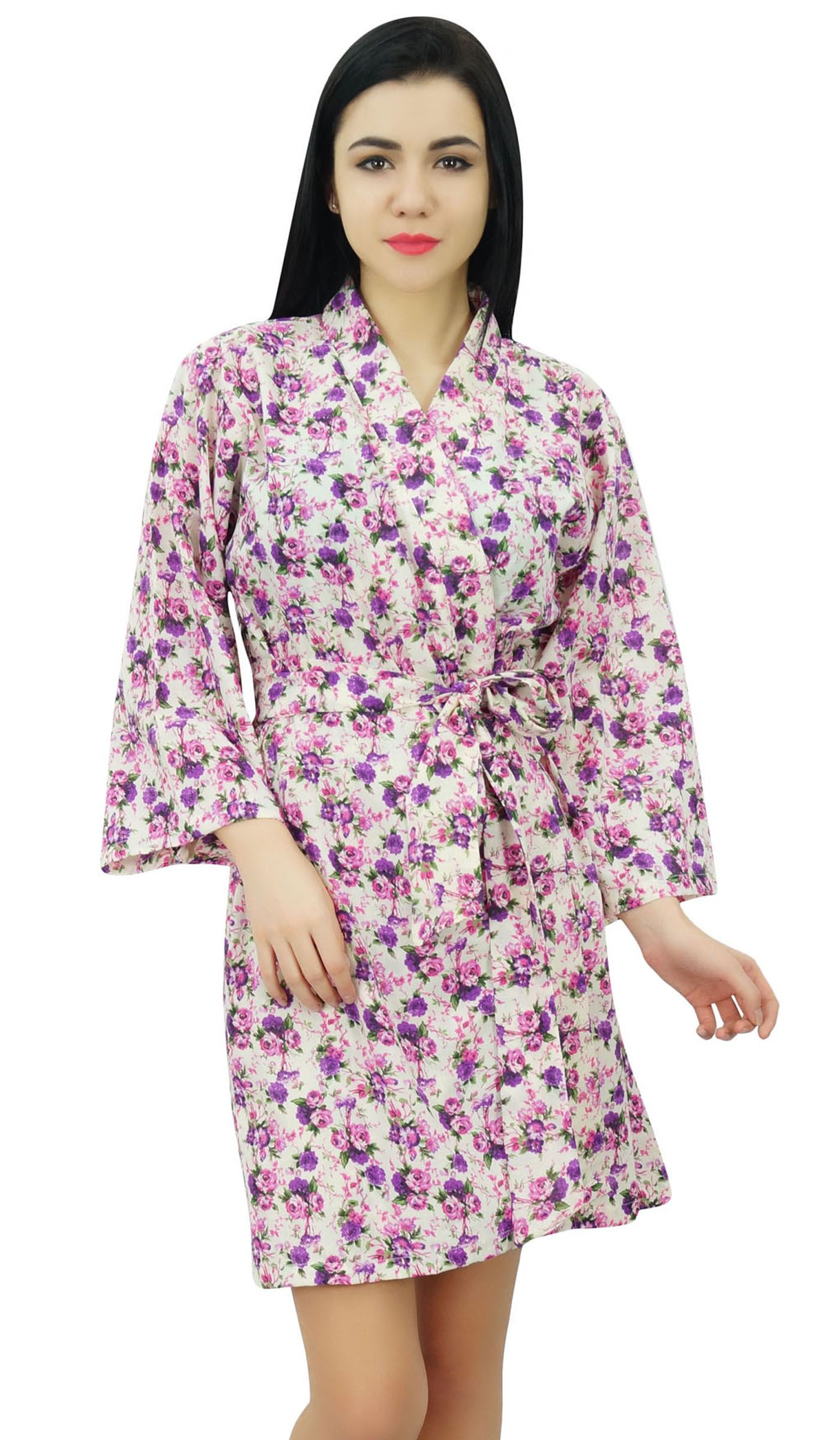 bb755e988b Bimba Womens Short Cotton Floral Robe Bride Getting Ready Bridesmaid Gift  Purple Cotton Floral