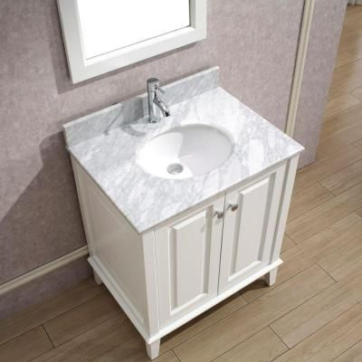 Studio Bathe Lily 30 In Vanity In White With Marble Vanity Top In