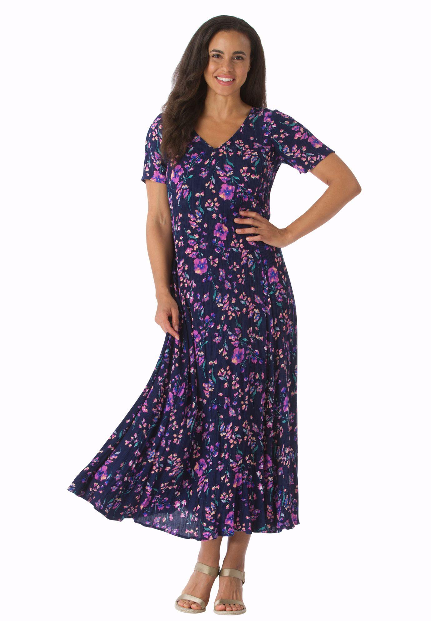 Short Sleeve Crinkle Dress Crinkled Maxi Dress Plus Size Petite Dresses Plus Size Dresses