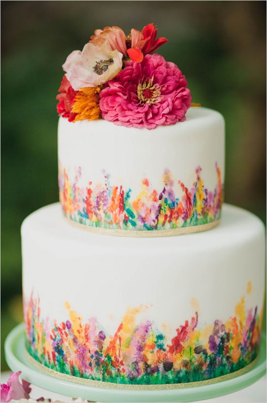 Floral Packed Garden Wedding Ideas Painted Wedding Cake